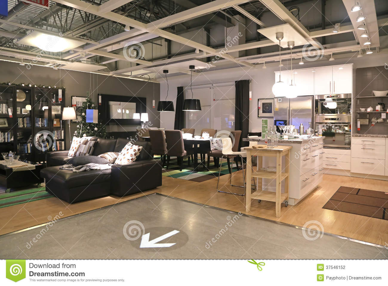 show room inside ikea store editorial photography image 37546152. Black Bedroom Furniture Sets. Home Design Ideas