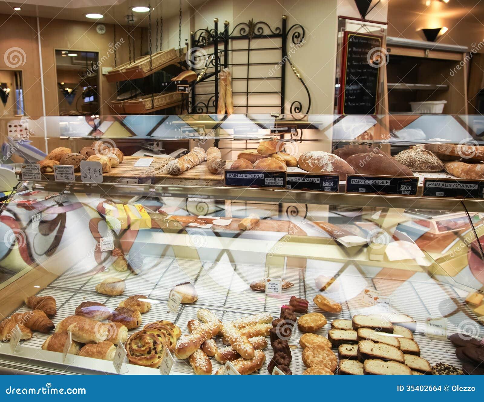 Showcase bij de Franse bakkerij in Parijs