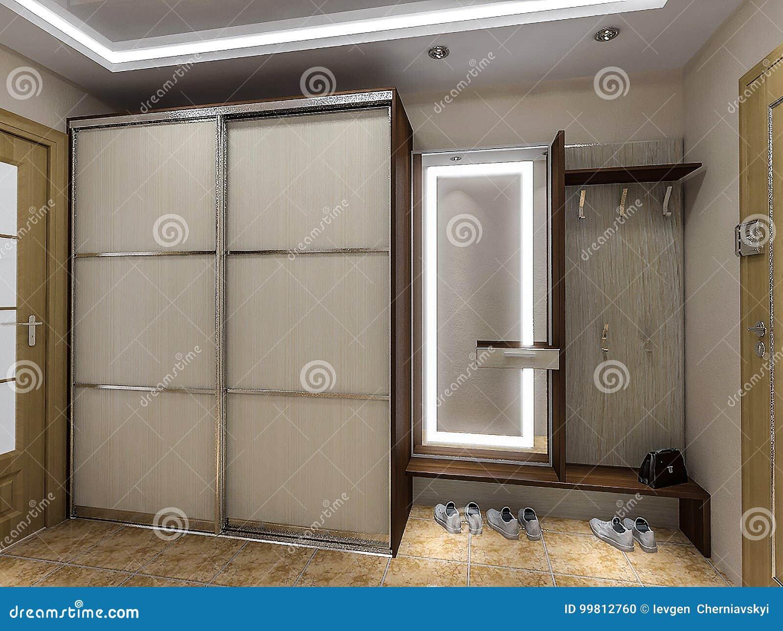 Modern entrance hall design ideas 3d render