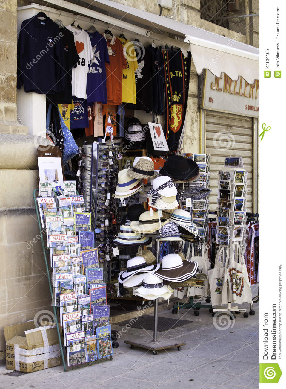 Showcase Of Souvenir Shop In Valletta Malta Editorial