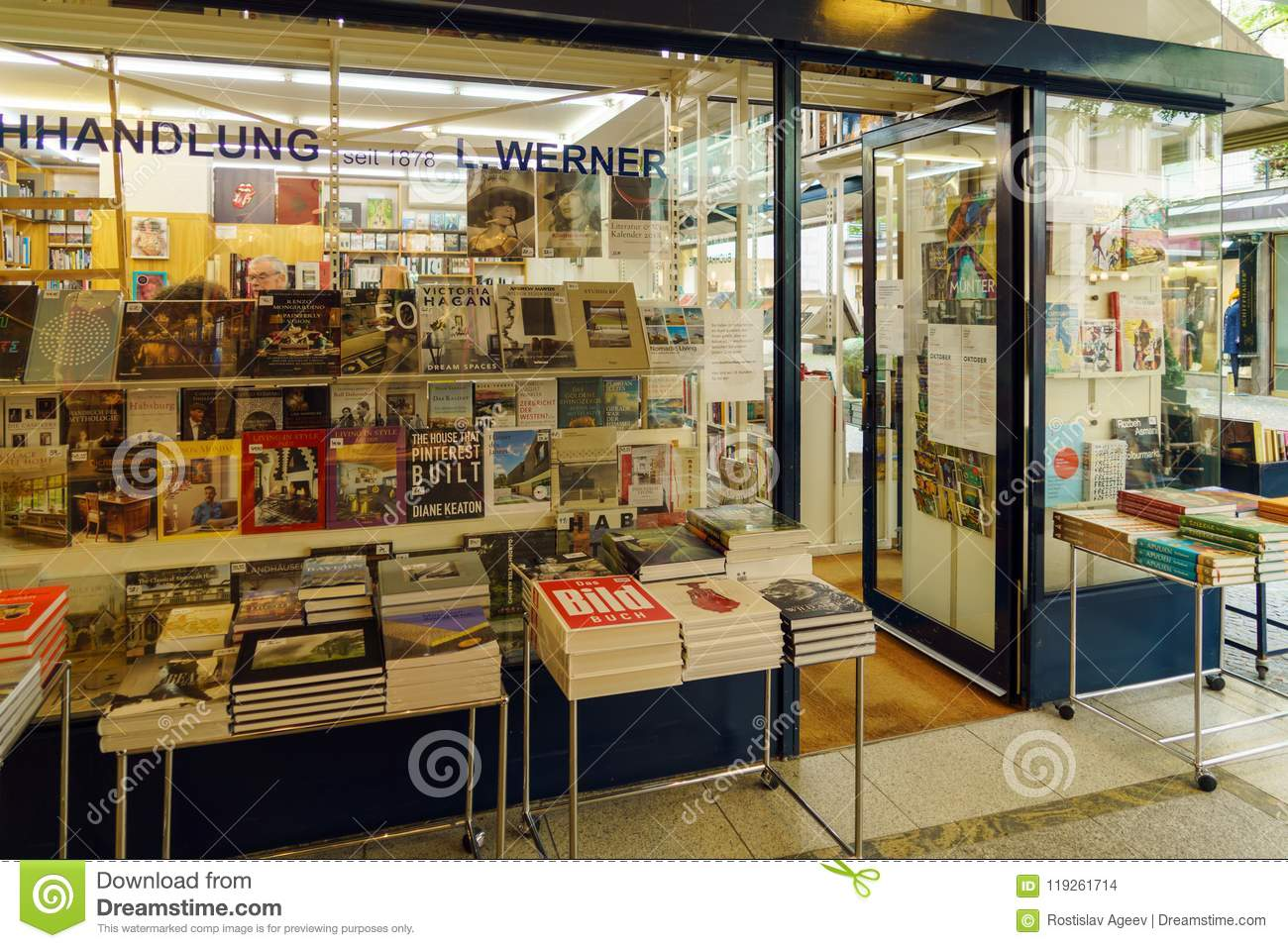 Showcases of a Bookstore with a Large Number of Books and ...