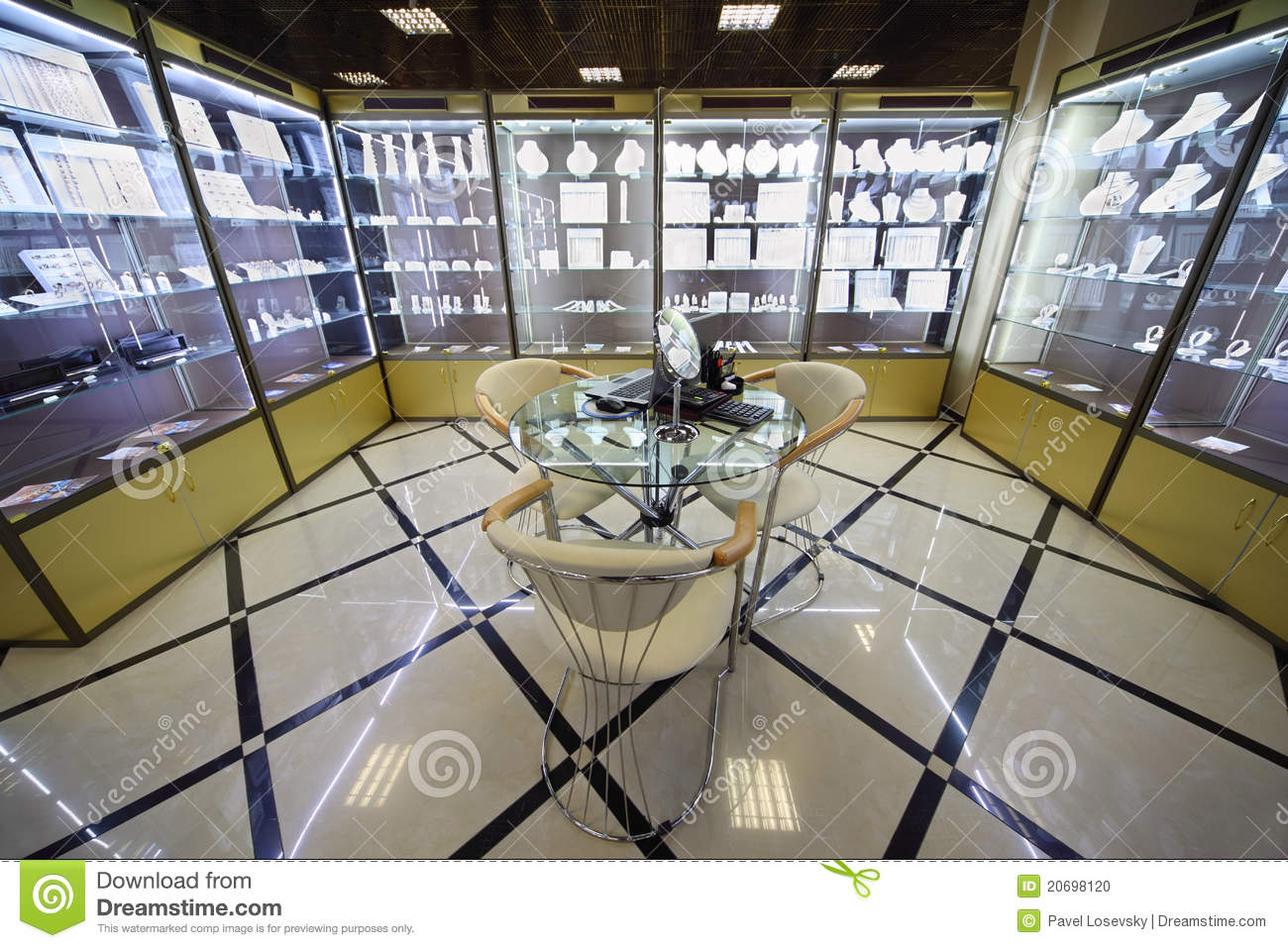 Showcases With Expensive Jewelry In Jewelry Salon ...