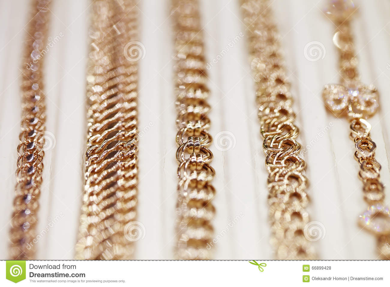 showcases gold chain close up stock photo image 66899428. Black Bedroom Furniture Sets. Home Design Ideas
