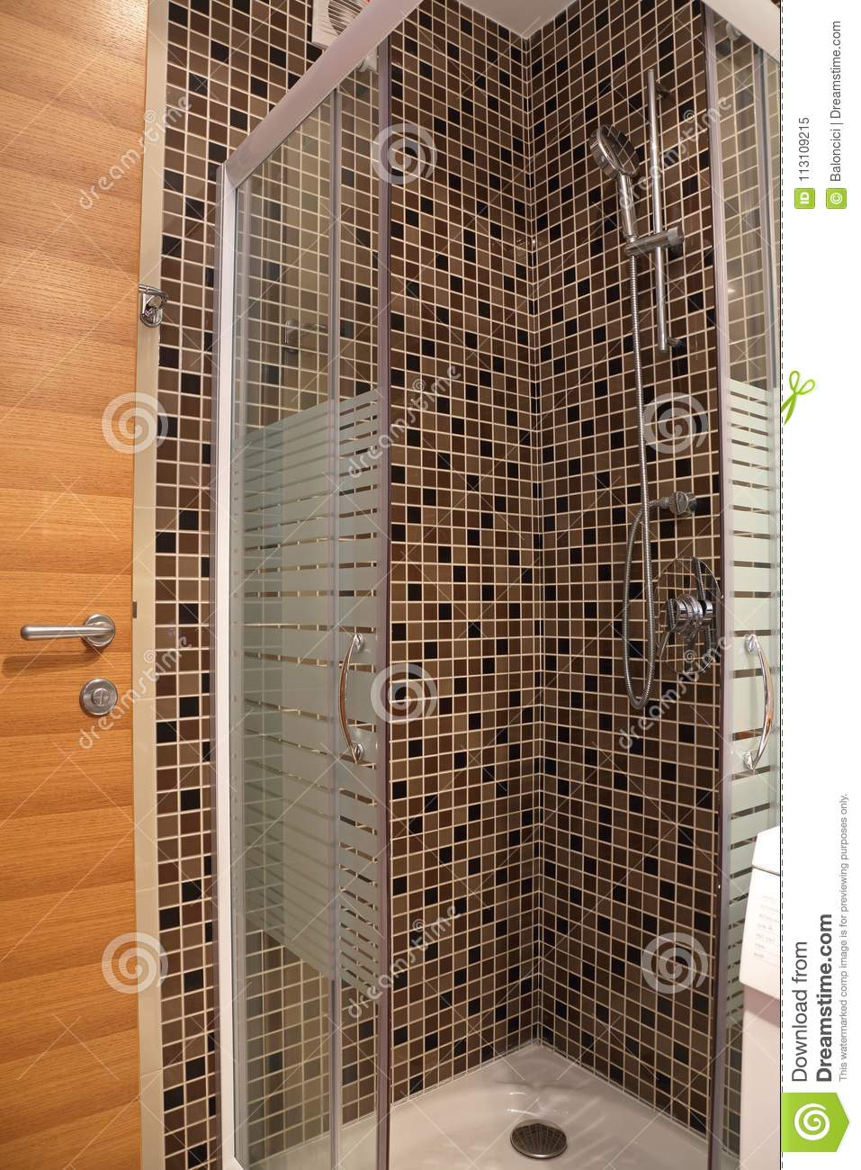 Shower Cabin stock image. Image of ceramic, modern, tile - 113109215