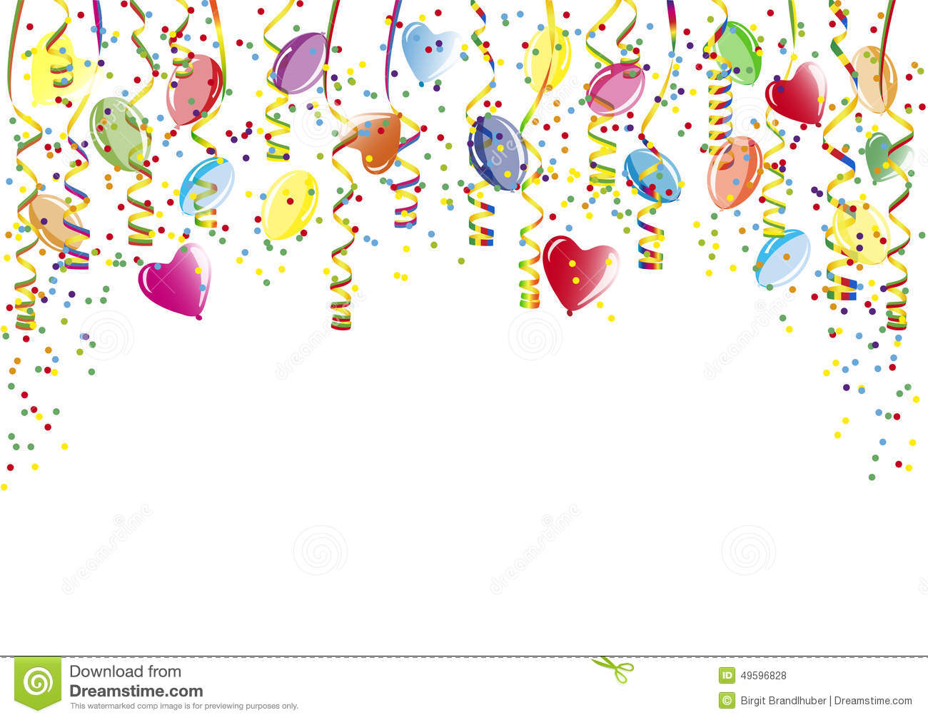 Shower of confetti balloons and paper streamer stock for Balloon and streamer decoration ideas