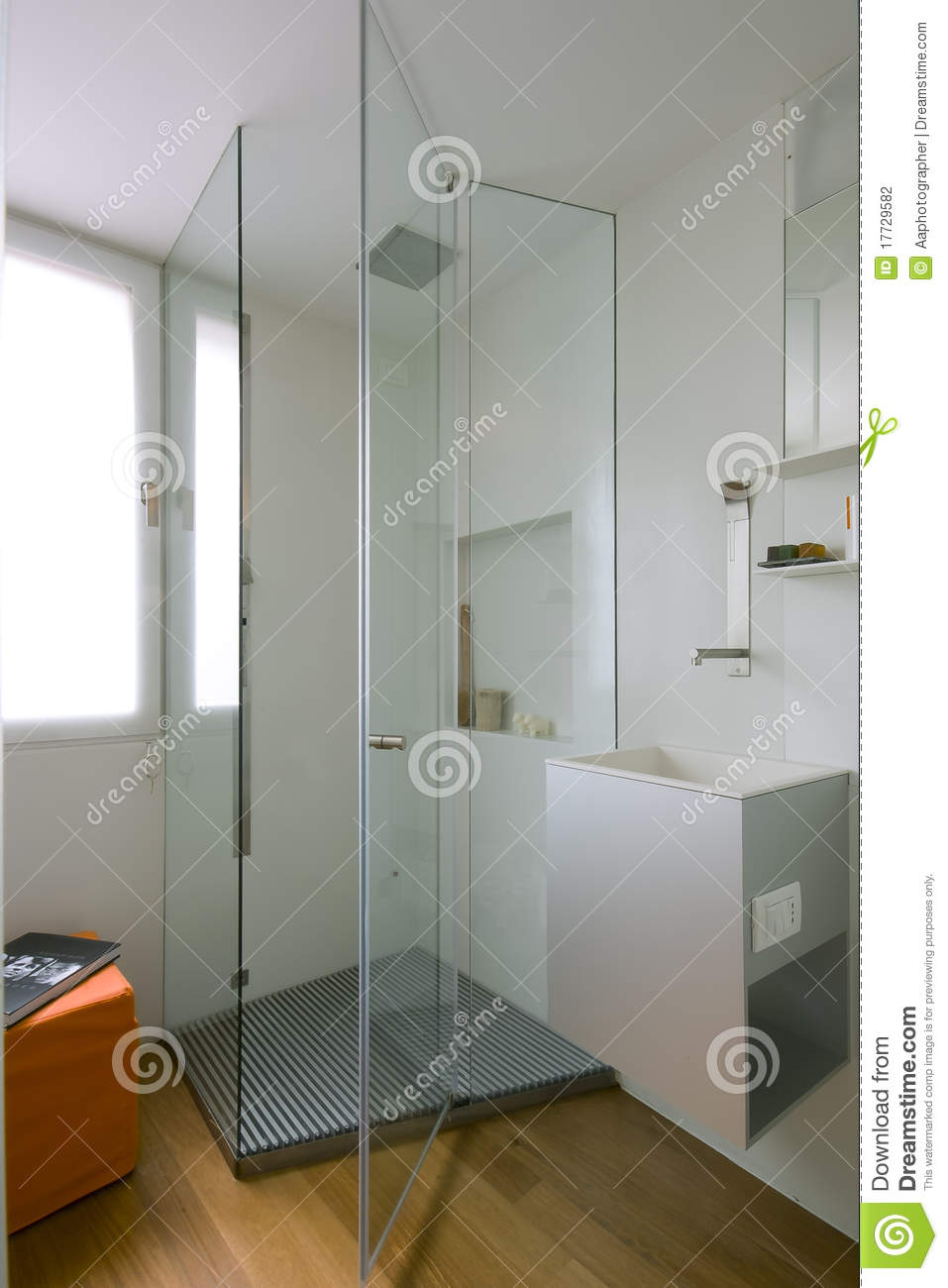 Shower Cubicle With Glass Partition Stock Photography