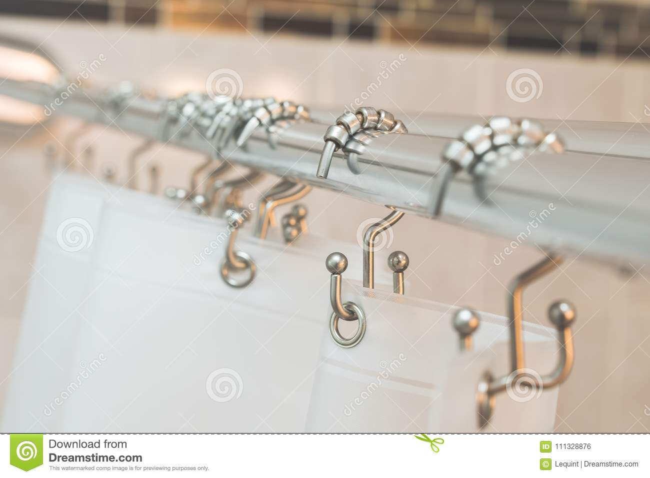 Shower Curtain Rod And Rings With Vinyl Transparent Stock