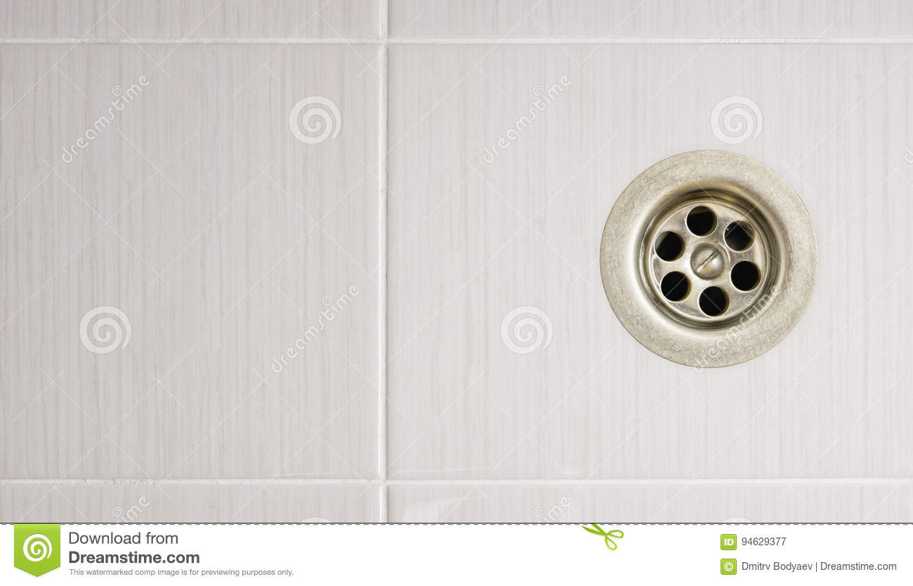 The Shower Drain With Tile Floors Stock Image - Image of object ...