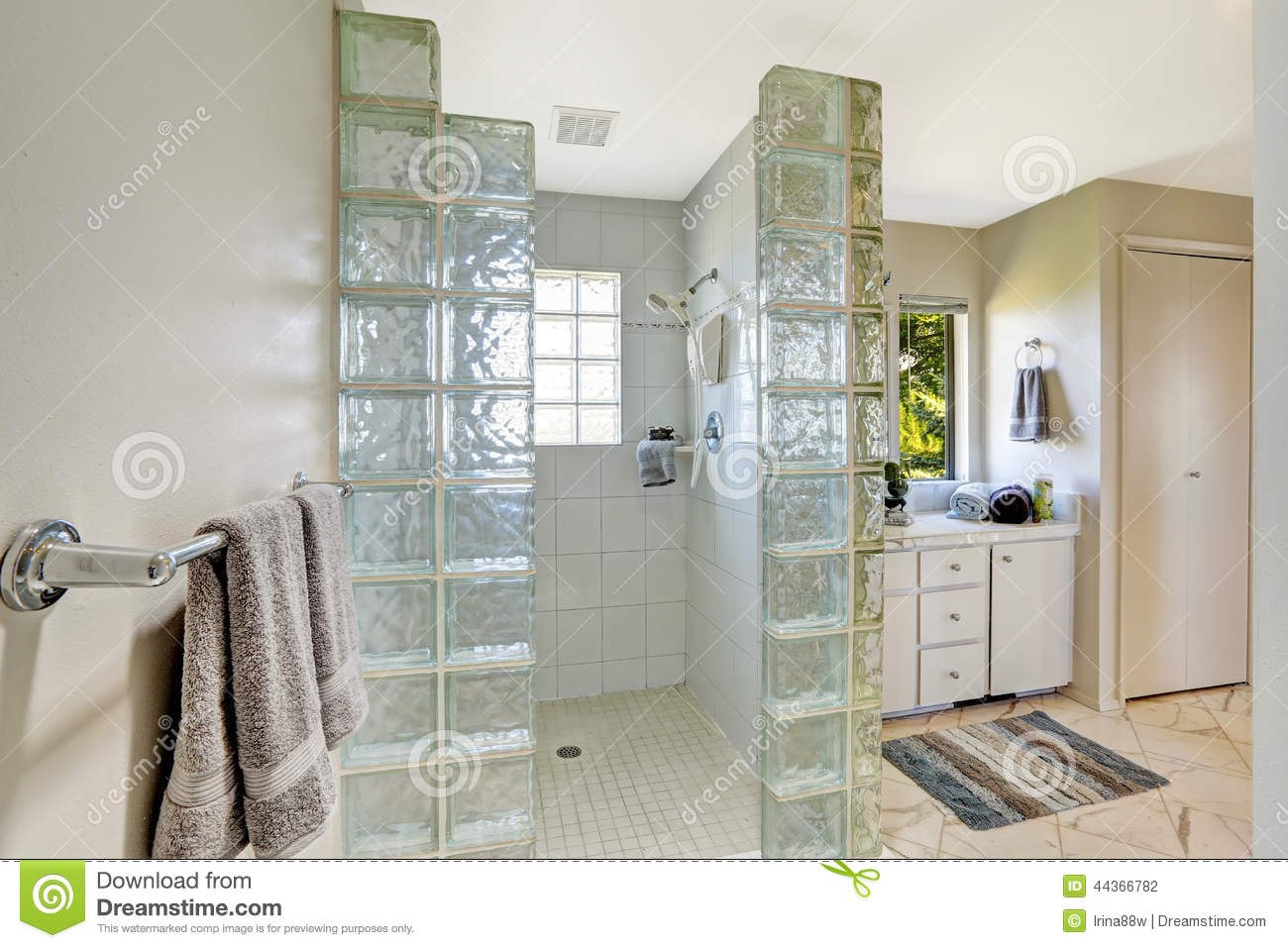 Shower with glass block trim stock photo image 44366782 for Mur en verre salle de bain