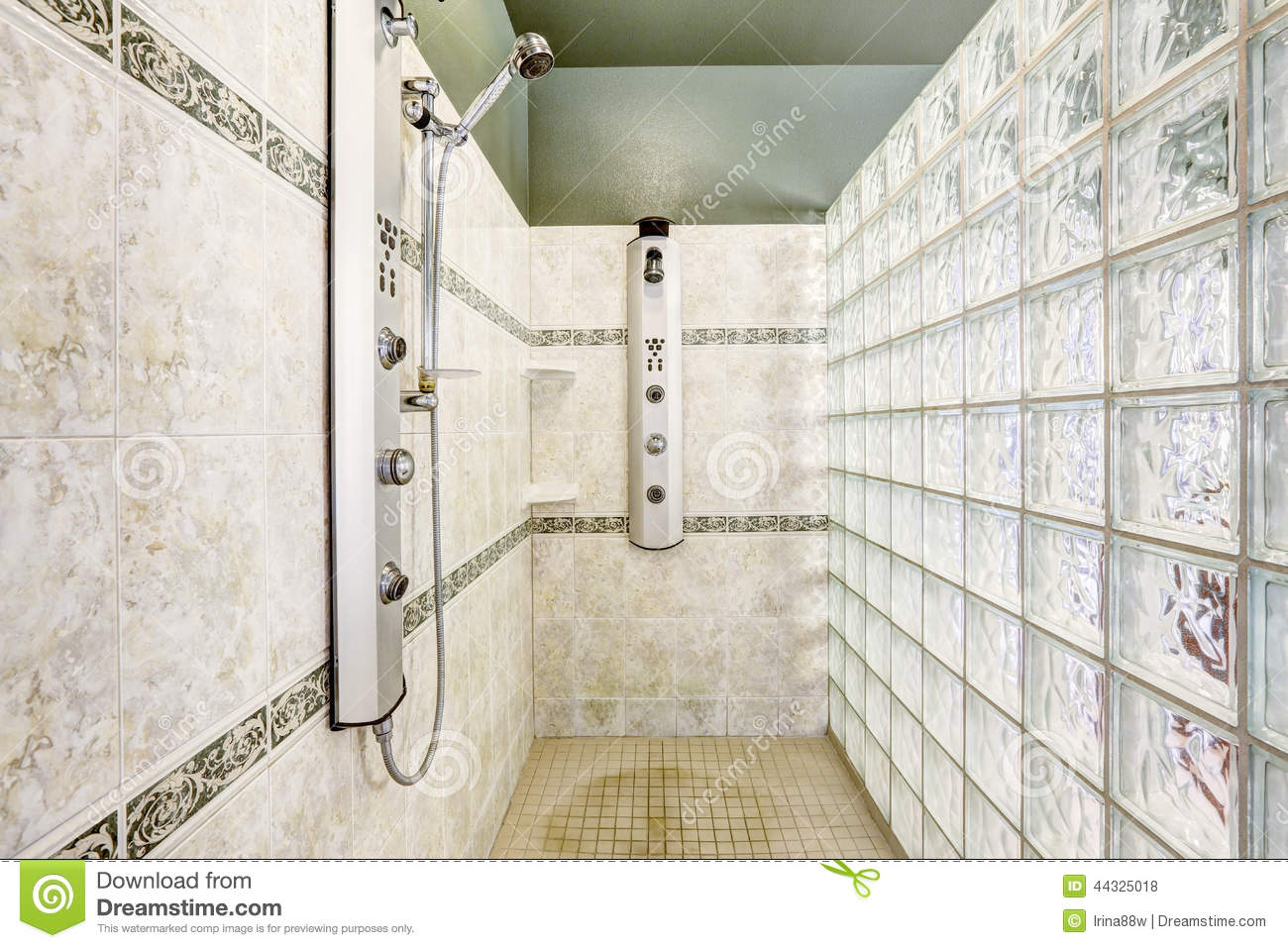 Shower With Glass Block Wall And Tile Trim Stock Photo - Image of ...