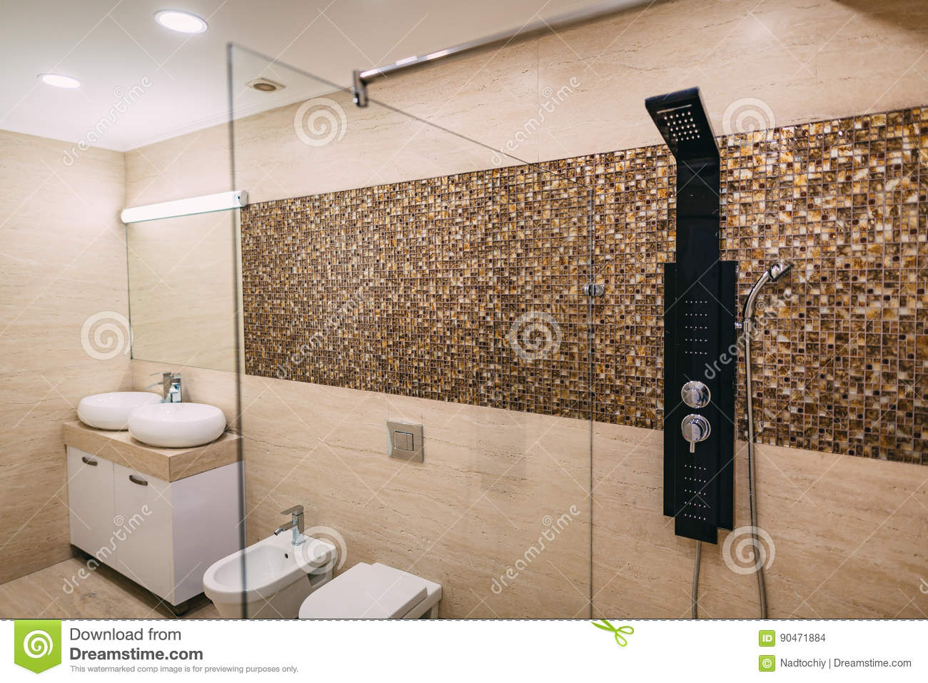 Shower Head In The Bathroom Stock Photo - Image of color, bathtub ...