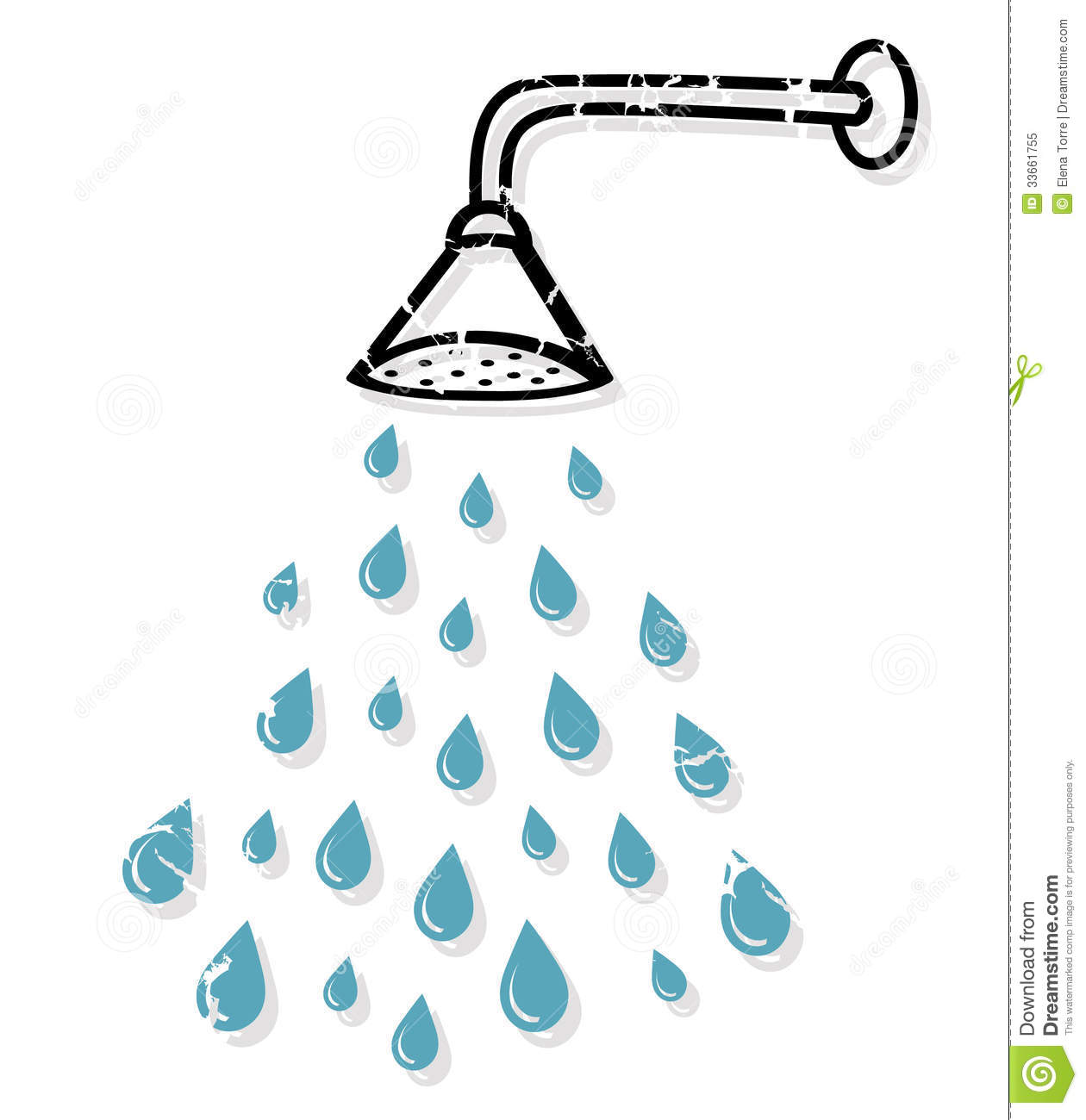 Illustration of shower head with water drops isolated on white ...