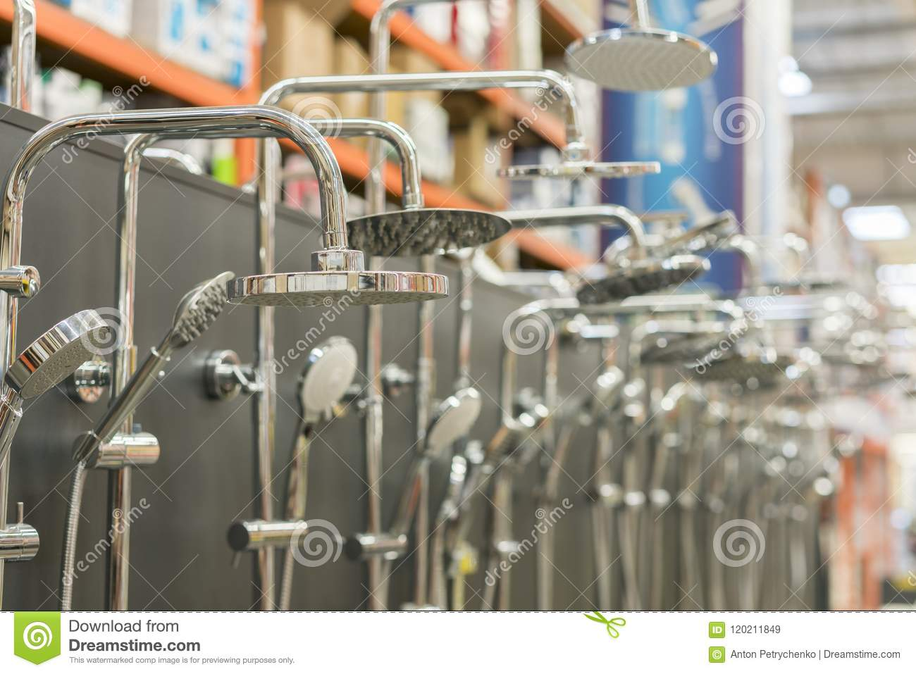 Shower Head On The Stand In A Hardware Store. Selected Focus. Set Of ...
