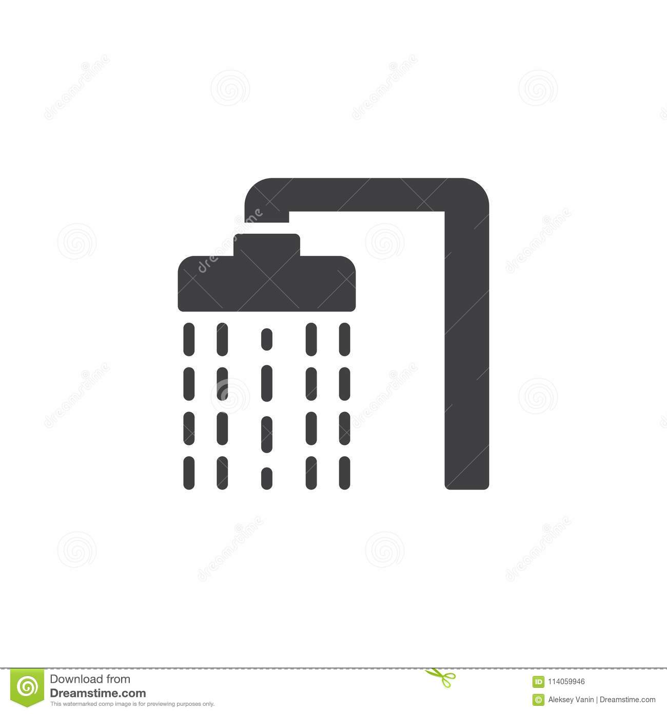Shower Head With Water Drops Vector Icon Stock Vector Illustration