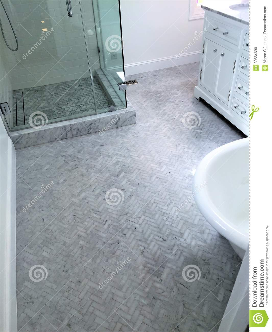 Shower Marble Floor Herringbone Pattern Stock Photo - Image of angle ...