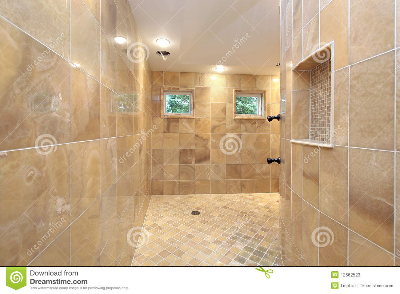 Shower With Marble Walls Stock Image Image Of Suburb