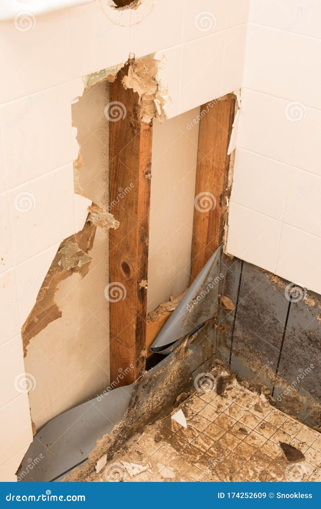 Shower Pan Damage Or Repair Stock Image Image Of Repair Room 174252609