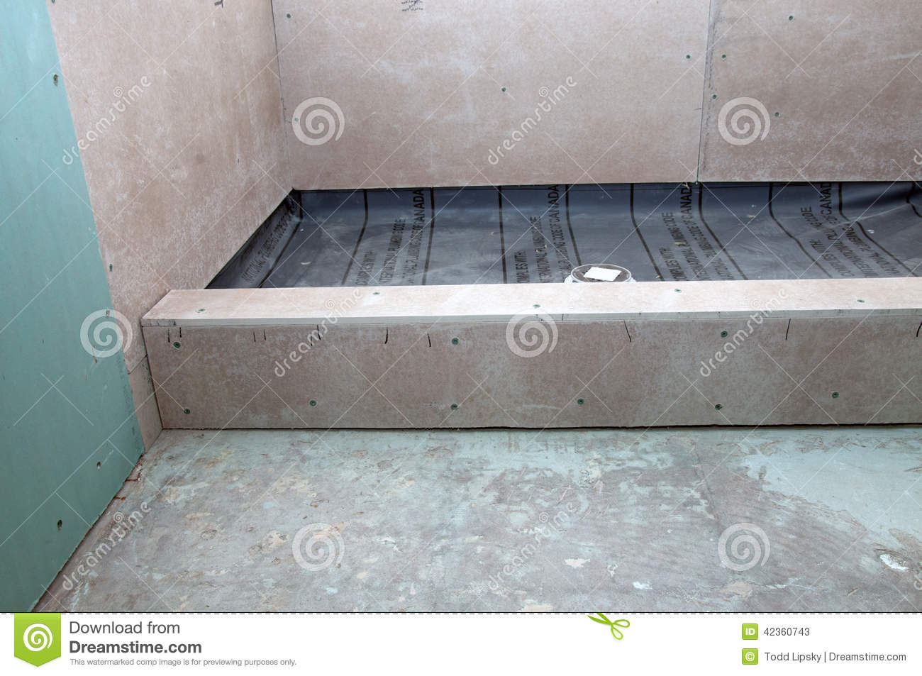 Shower Renovation shower renovation - shower pan stock photo - image: 42360658