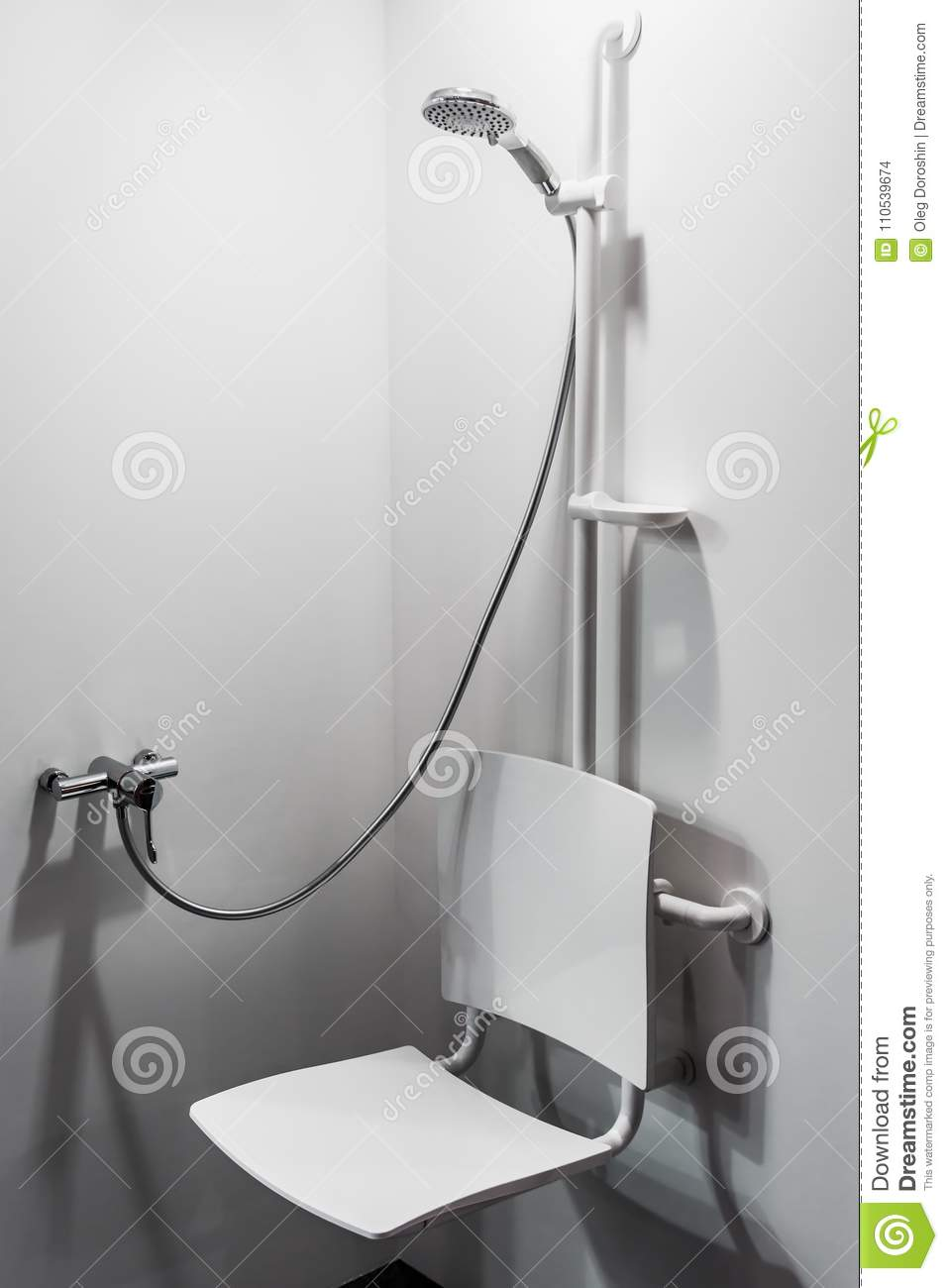 Shower With Seat And Grab Bars For Disabled And Elderly People Stock ...