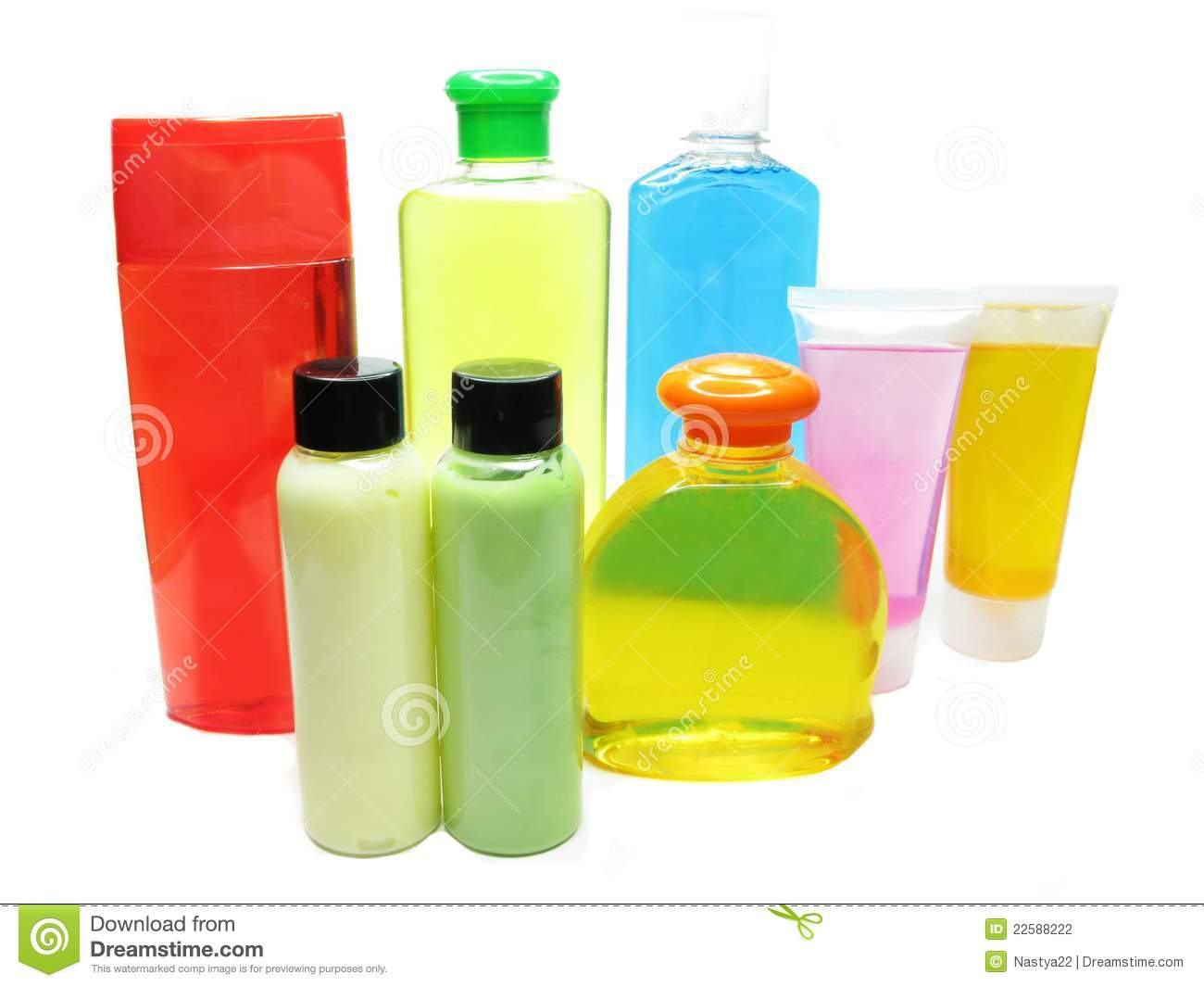 Shower set shampoo shower gel body creme bottles