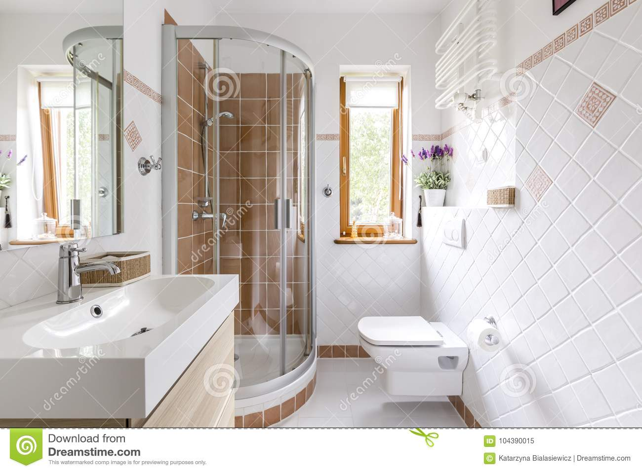 Shower In Small White Bathroom Stock Image - Image of lavender ...