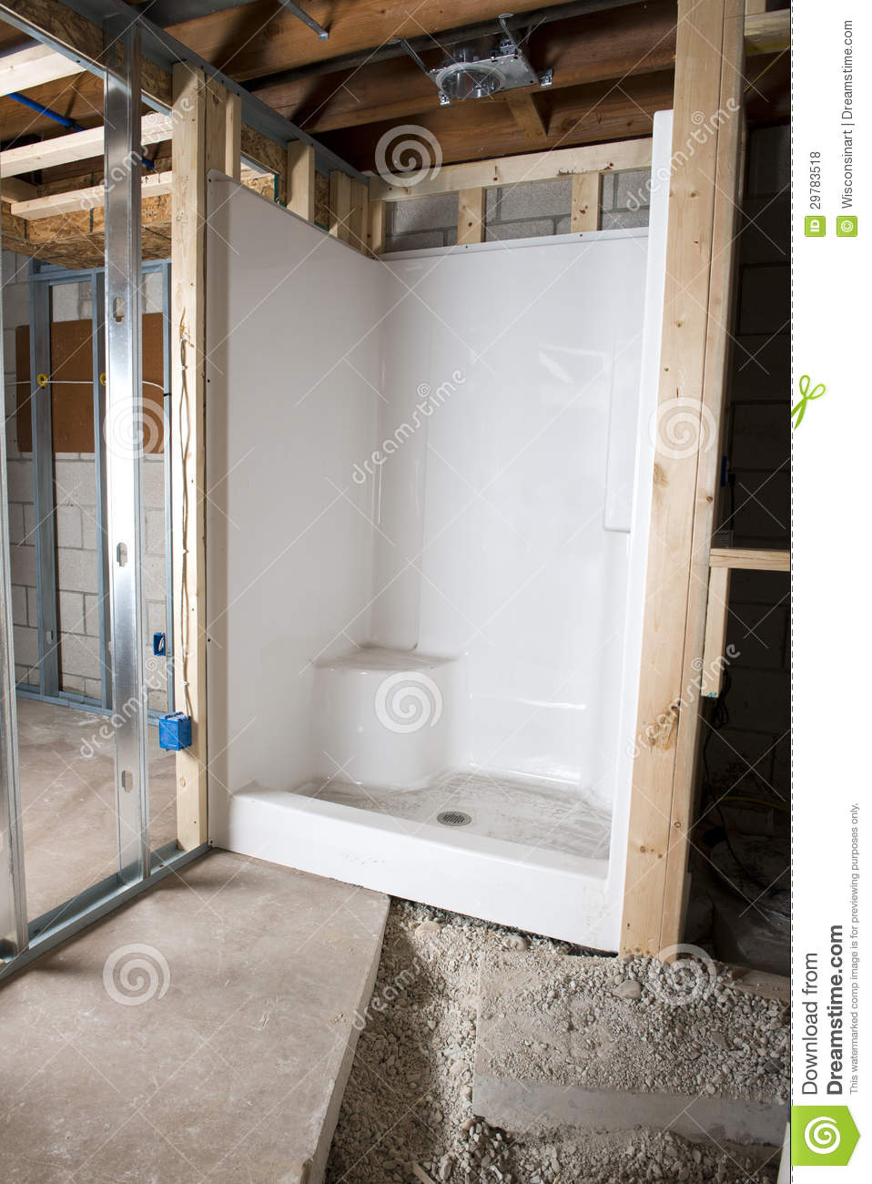New bathroom shower stall home improvement royalty free for Bathroom home improvement