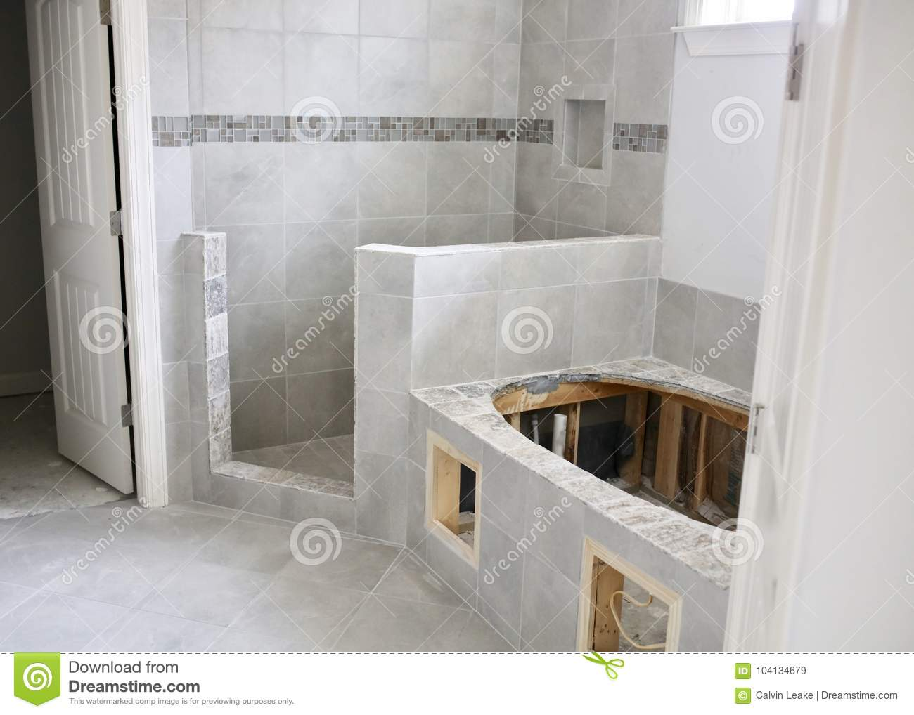 Shower And Tub Tile Remodel Project Stock Image - Image of colors ...