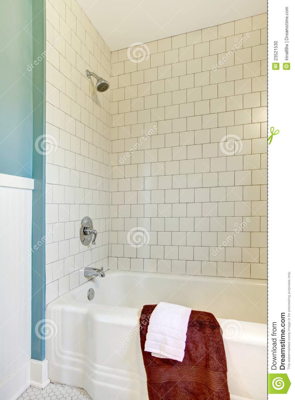 Shower Tub White Classic Tile And Blue Wall. Stock Photo - Image ...