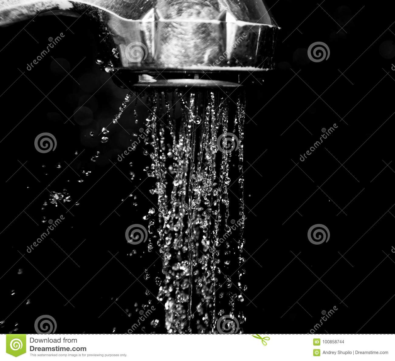 Shower With Water Isolated On A Black Background Stock Photo