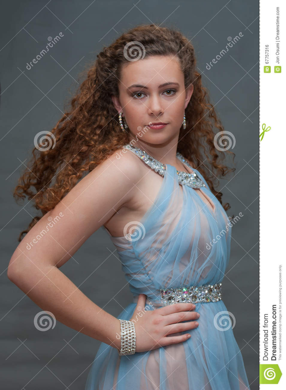 showing attitude in blue sheer dress stock photo image of pageant