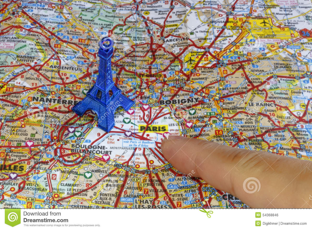 showing paris map with a blue eiffel tower stock photo