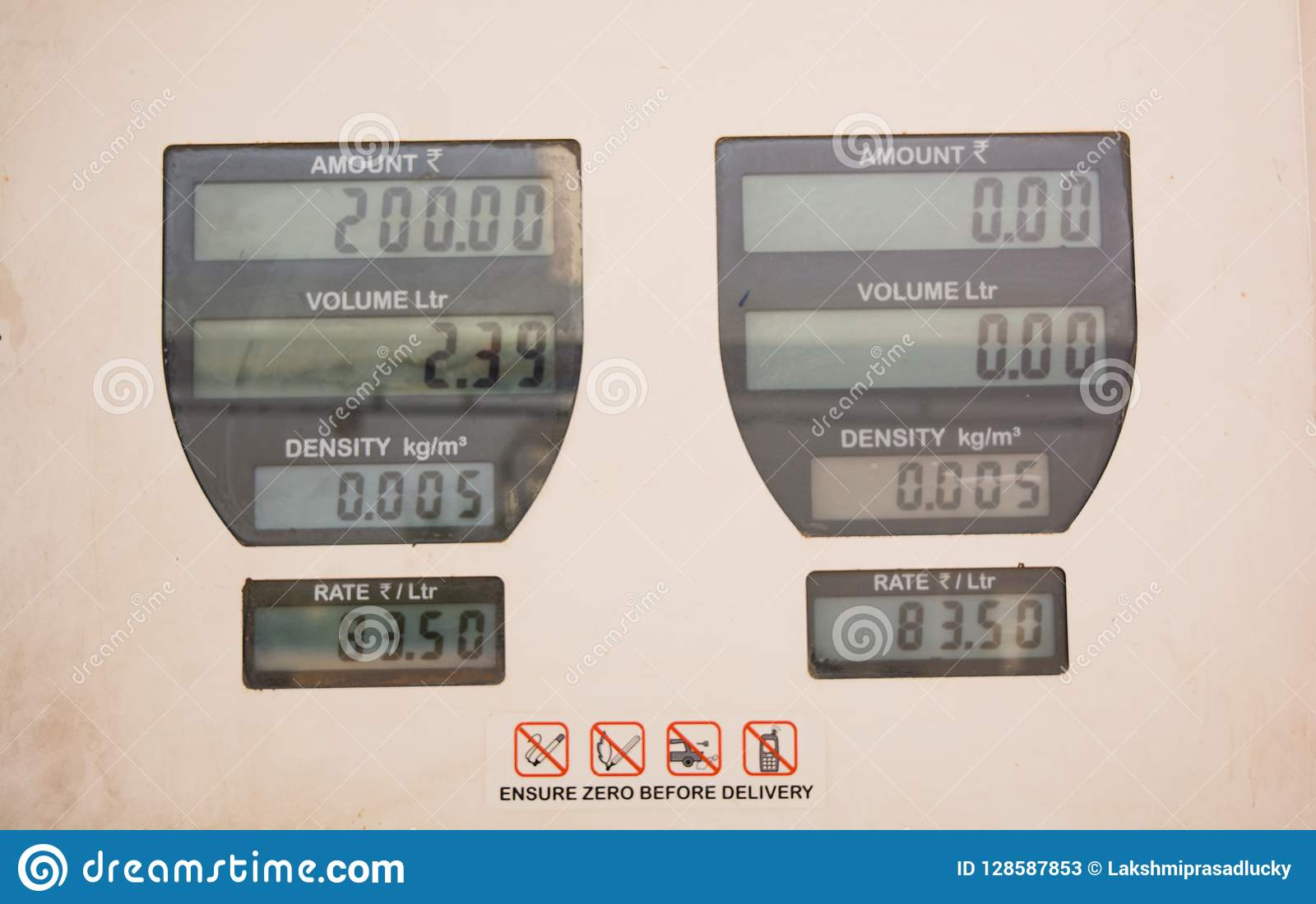 Showing petrol fuel price on a gas station board in india
