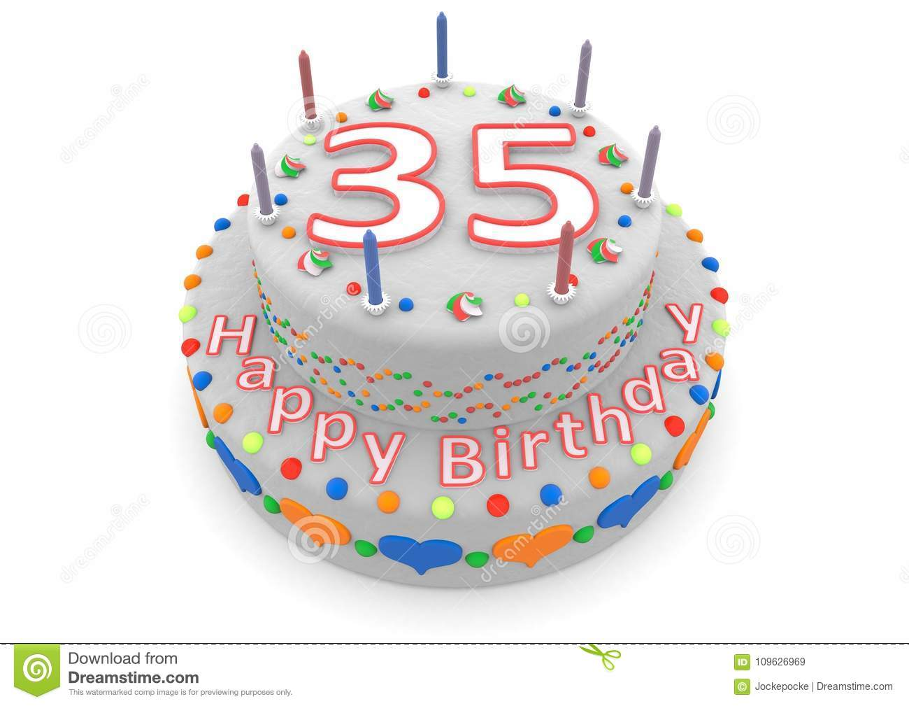 White Cake With Happy Birthday And The Age Stock Illustration