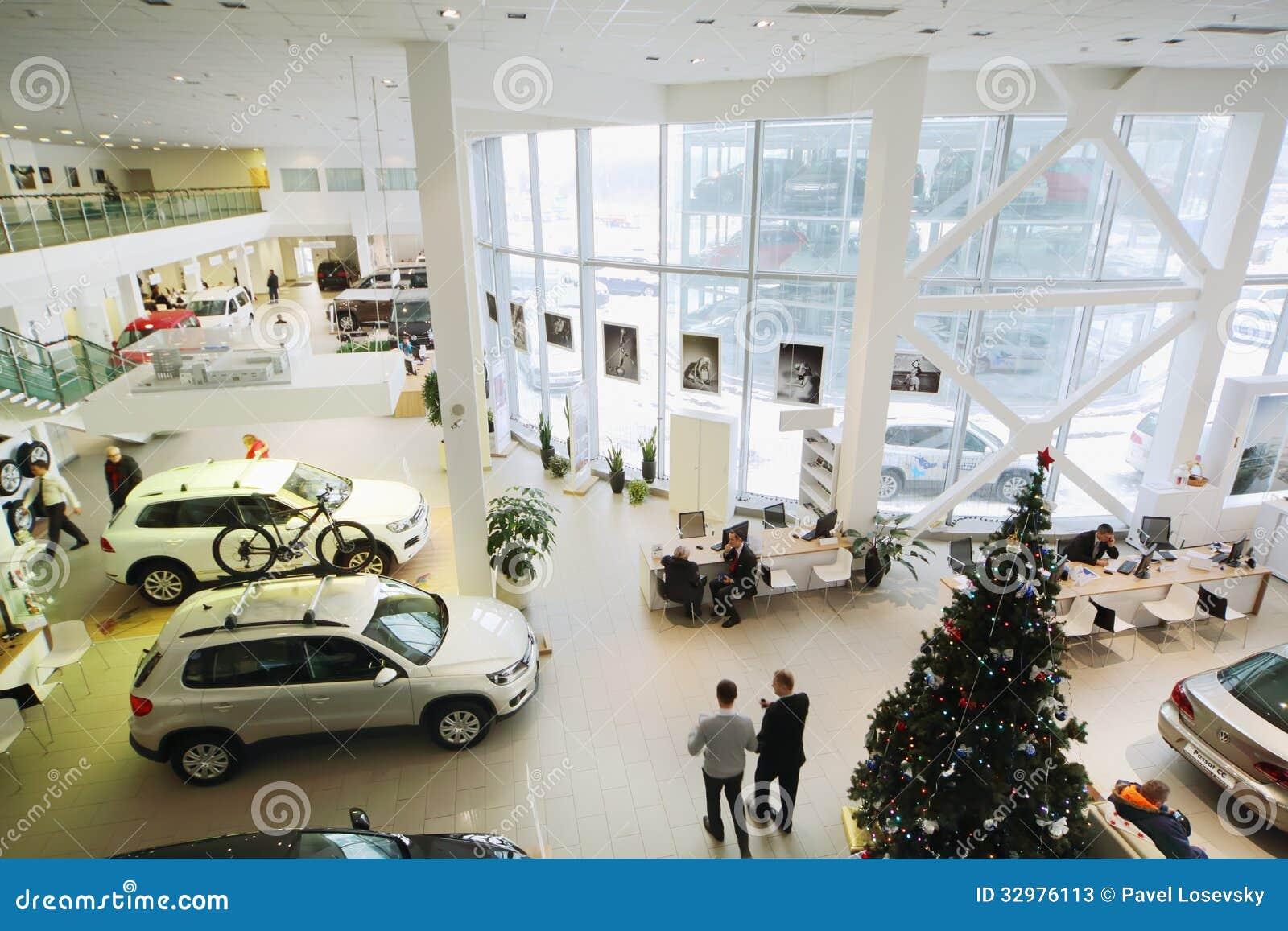 Showroom On First Floor Of Dealership Of Volkswagen Center Editorial Stock Photo - Image of ...