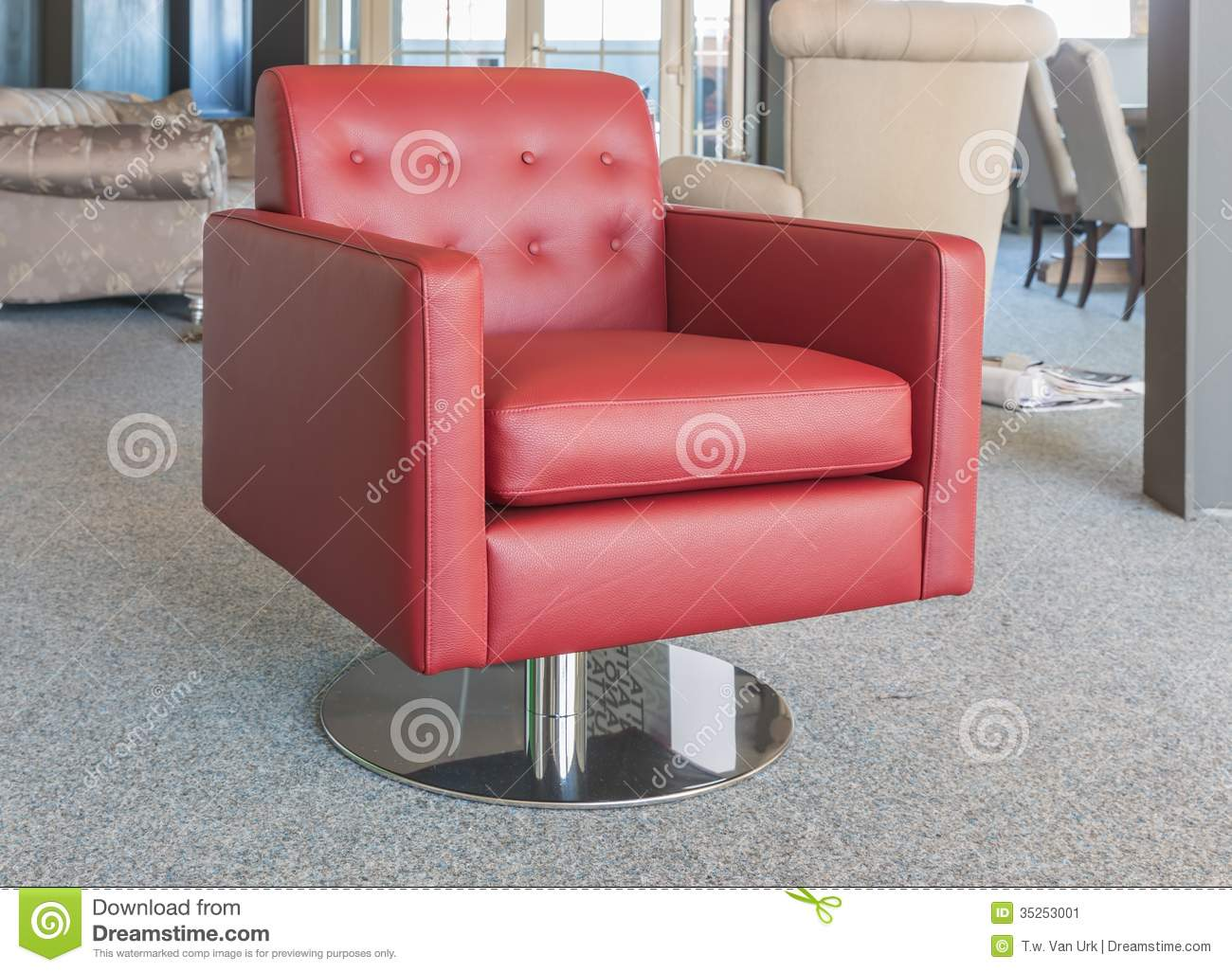 Showroom Modern Furniture Shop With Luxury Red Leather Armchair Stock Image
