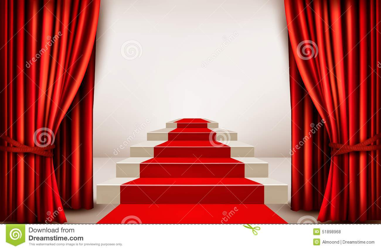 Showroom With Red Carpet Leading To A Podium With Curtains