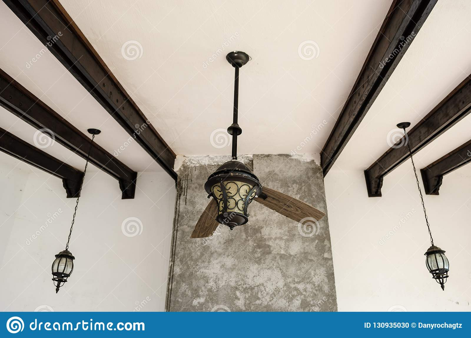 Shredded Ceiling Fan Two Blades Of A Broken Fan Wooden Bars On The Roof Stock Photo Image Of Background Blade 130935030