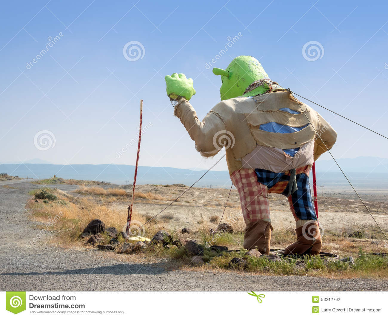 Image of: Dune Shrek Waves To Desert Travelers Dreamstimecom Shrek In The Desert Editorial Photography Image Of Craft 53212762