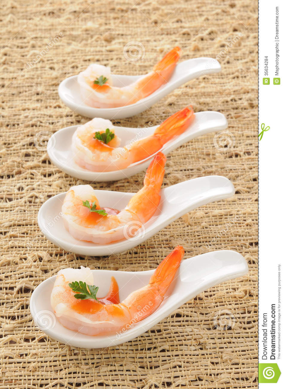 Shrimp appetizers stock images image 35634284 for Canape cocktail spoons