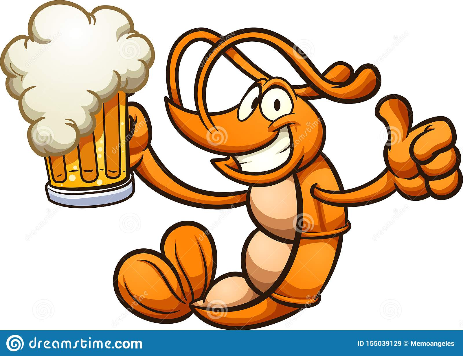 Happy Cartoon Shrimp Holding A Beer Stock Vector Illustration Of Happy Character 155039129