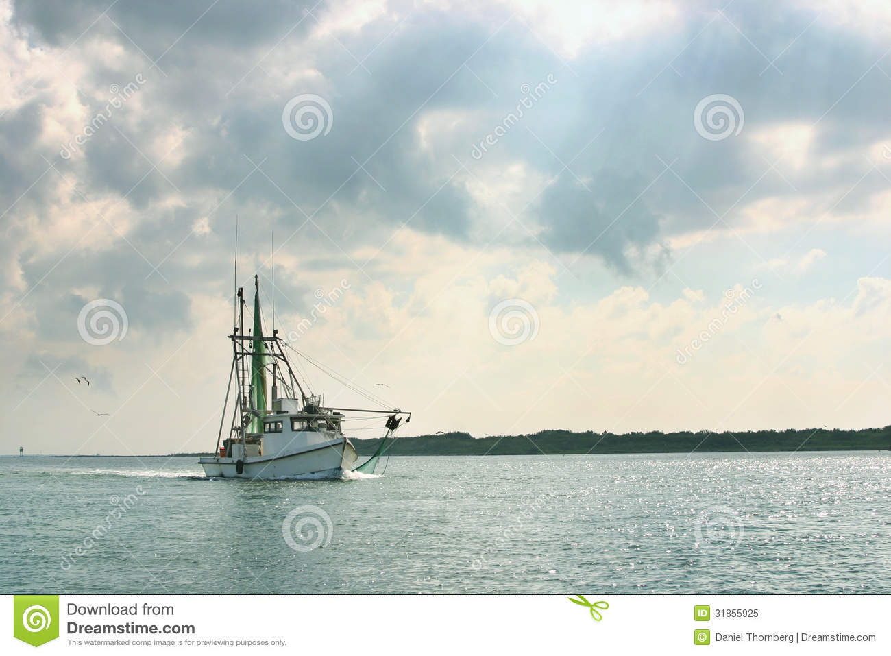 Shrimp boat returns from day of fishing royalty free stock for Free fishing day texas