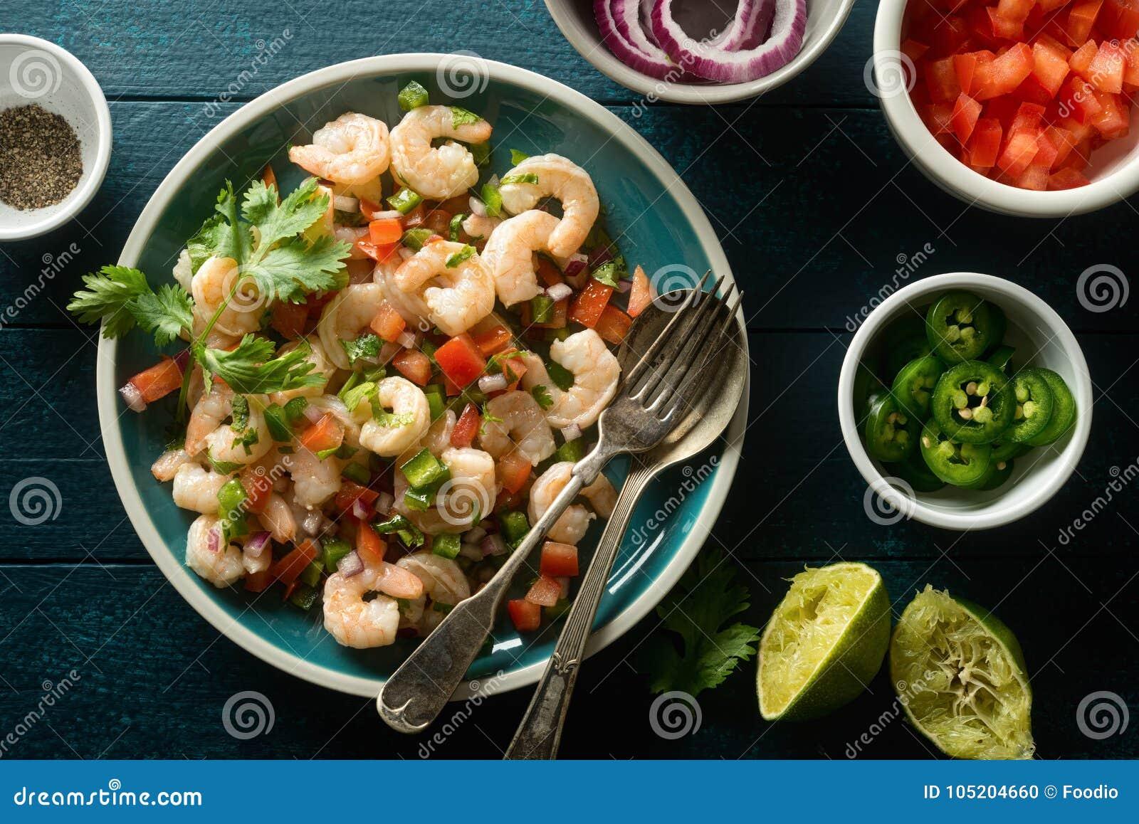 Shrimp Ceviche on a Blue Tabletop