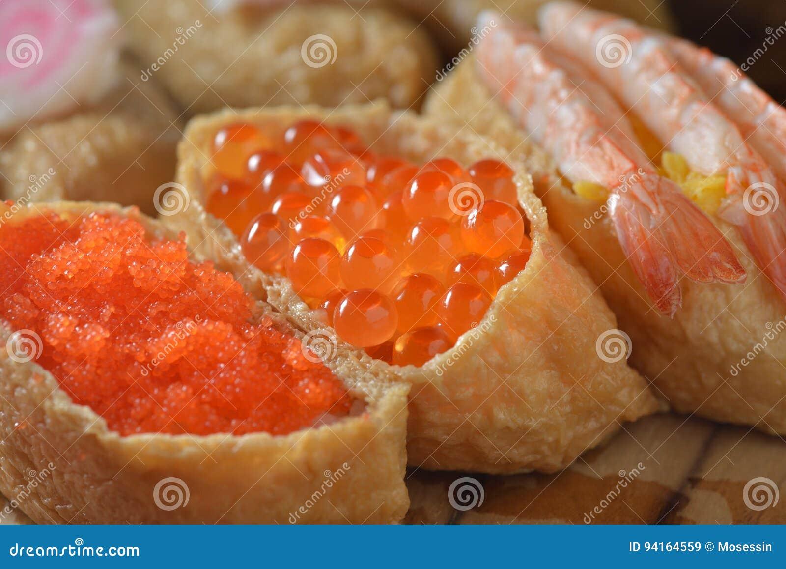 Shrimp Crab Roe Sushi Stock Image Image Of Crab Course 94164559