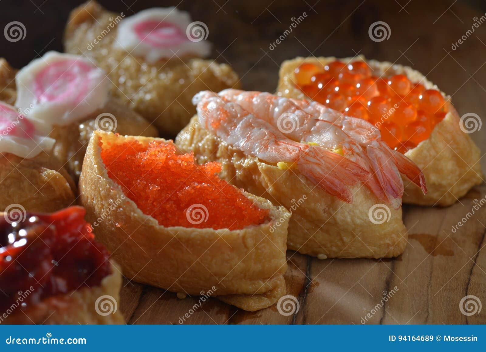 Shrimp Crab Roe Sushi Stock Image Image Of Wasabi Rice 94164689