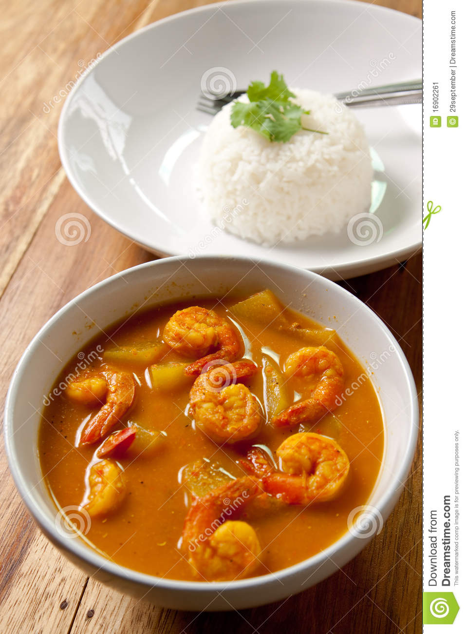 Shrimp curry with rice.