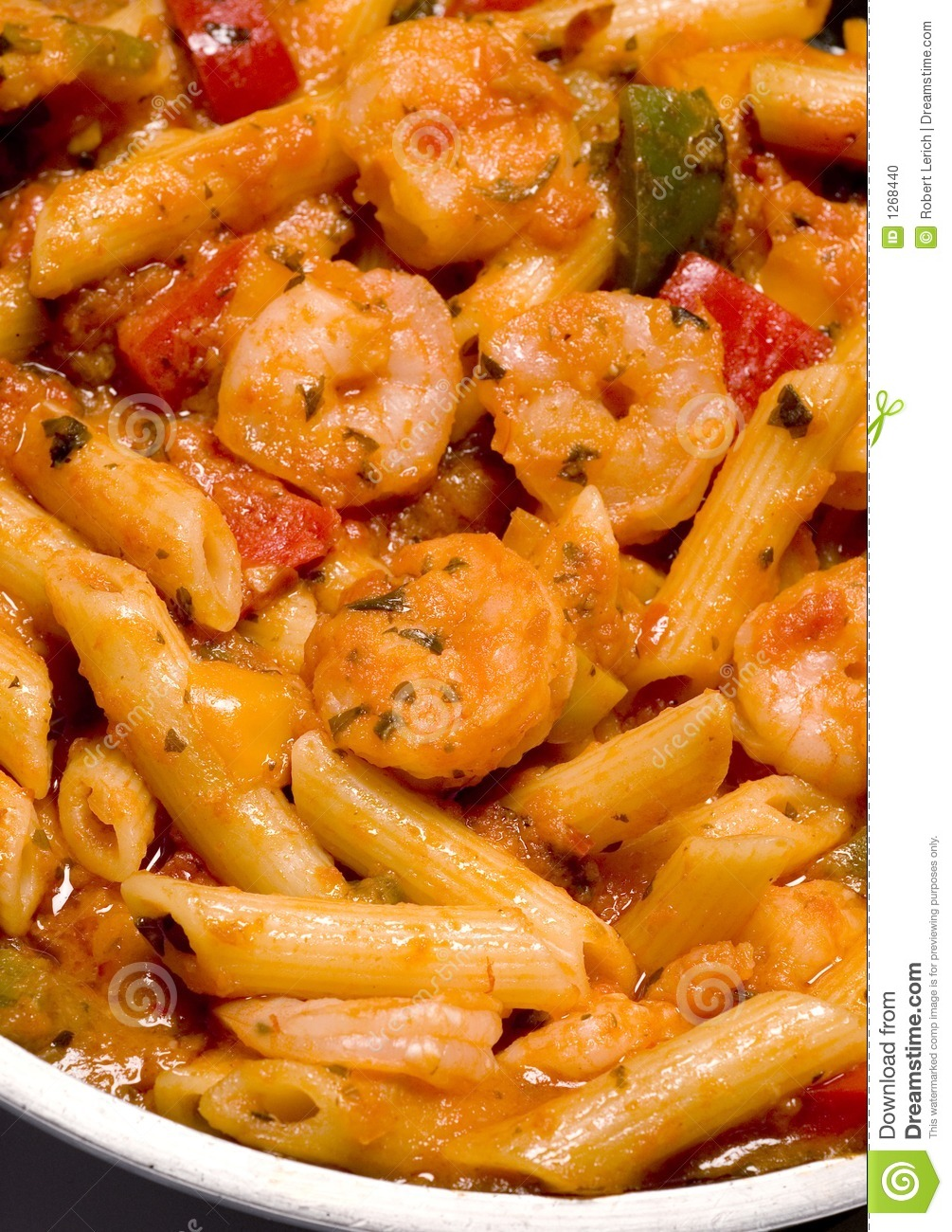 Spicy shrimp fra diavolo and penne pasta.