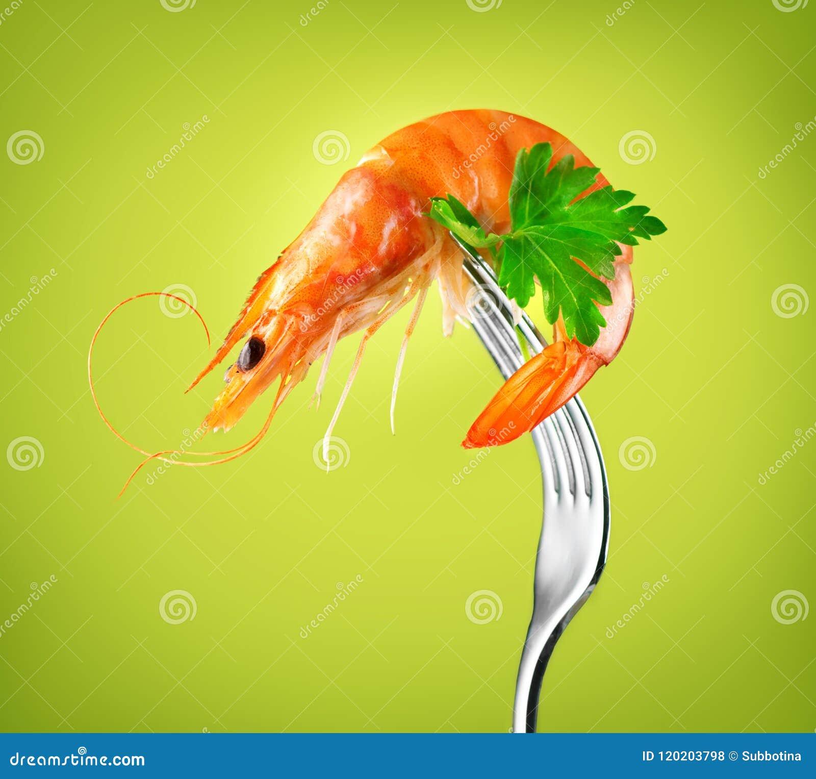 Shrimp. Fresh Prawn on a fork rotated on Green Background. Seafood, preparing healthy gourmet food