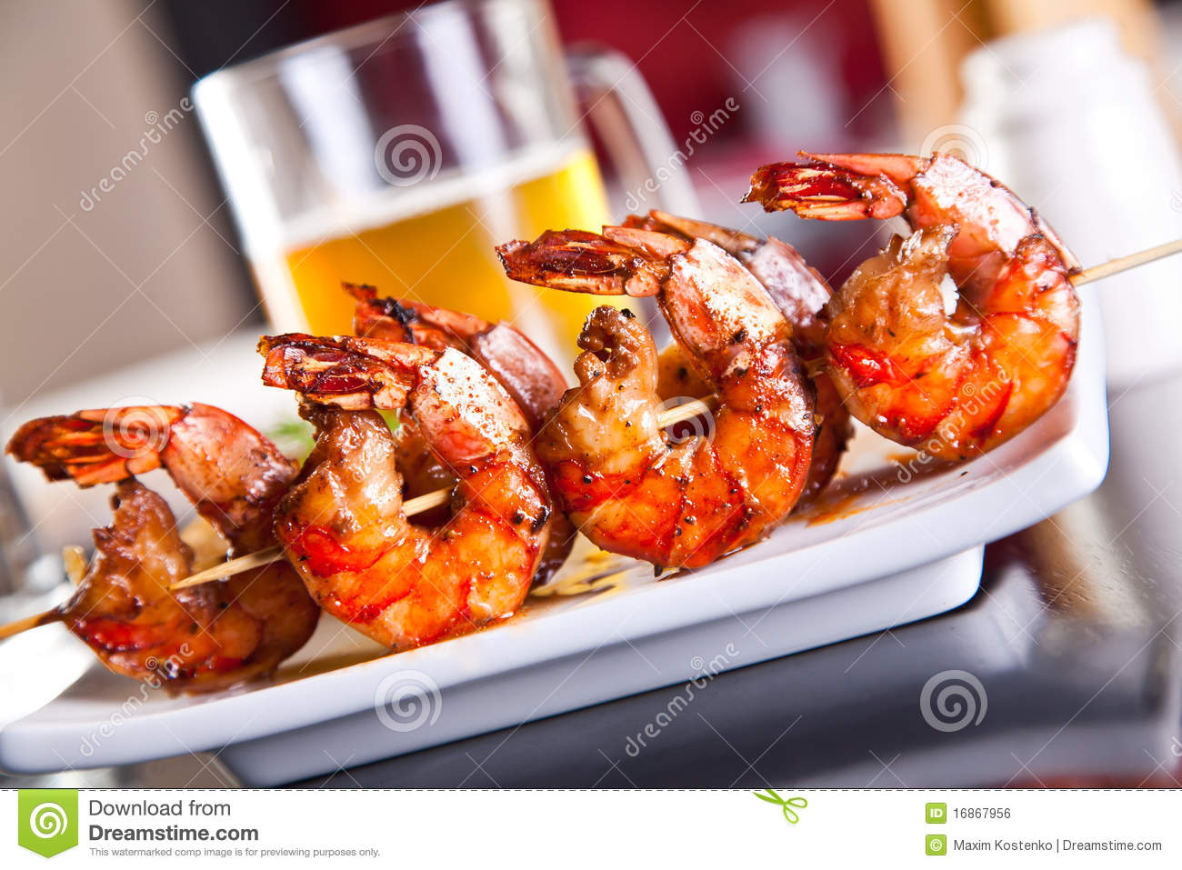Shrimp grilled with beer