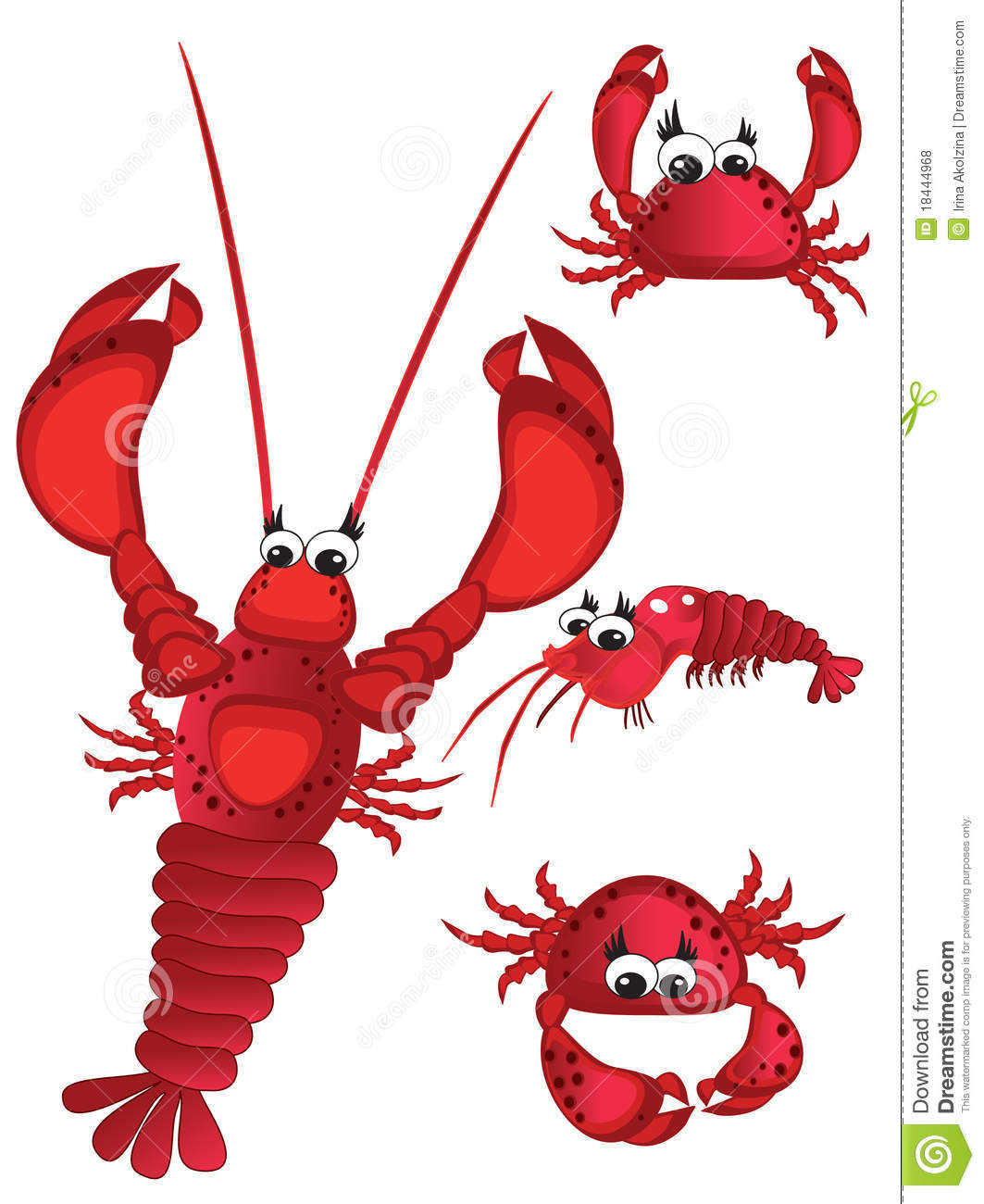 Shrimp,lobster and crabs stock vector. Image of animal - 18444968