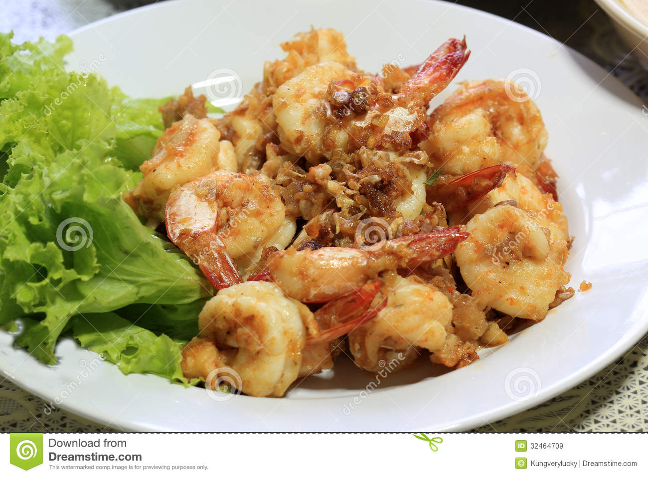 Shrimp With Pepper And Garlic In Thai Style Dish Royalty Free Stock ...